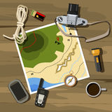 Camping and travel equipment. Camping equipment - map, vintage camera, compass Stock Photo
