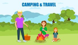 Camping and Travel Flat Banner with Lettering vector illustration