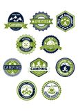 Camping and travel icons or badges Royalty Free Stock Photo