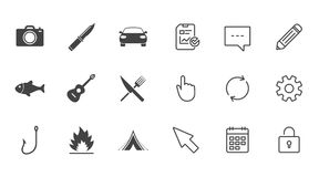 Camping travel icons. Fishing, tourist tent. Stock Image