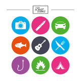 Camping travel icons. Fishing, tourist tent. Royalty Free Stock Photos