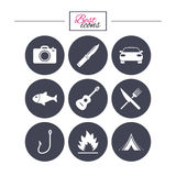 Camping travel icons. Fishing, tourist tent. Royalty Free Stock Images