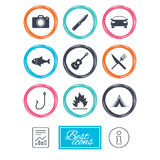 Camping travel icons. Fishing, tourist tent. Stock Images