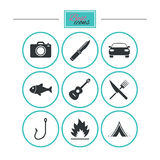 Camping travel icons. Fishing, tourist tent. Royalty Free Stock Image