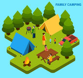 Camping And Travel Isometric Composition Stock Photo
