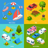 Camping And Travel Isometric 2x2 Icons Set Stock Image