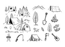 Camping travel objects doodle vector set isolated on white background. Cartoon style. vector illustration
