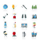 Camping, travel and Tourism icons Stock Photography