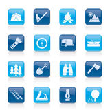 Camping, travel and Tourism icons Royalty Free Stock Photos