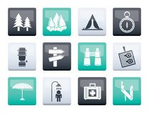 Camping, travel and Tourism icons over co over color backgroundlor background royalty free stock photo