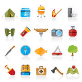 Camping, travel and Tourism icons Stock Photos