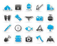 Camping, travel and Tourism icons. Vector icon set Stock Photos
