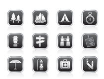 Camping, travel and Tourism icons Royalty Free Stock Photo