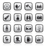 Camping, travel and Tourism icons Stock Image