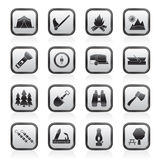 Camping, travel and Tourism icons Royalty Free Stock Photography