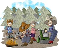 Camping trip. This illustration that I created depicts a family on a camping trip Royalty Free Stock Photo