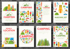 Camping Trip Cards Set. Hiking Template Of Flyear, Magazines, Posters, Book Cover, Banners. Trave Tourl Infographic Royalty Free Stock Photo