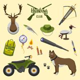 Camping trip equipment collection. accessories and base  Stock Photos