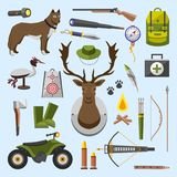 Camping trip equipment collection. accessories and base  Stock Image