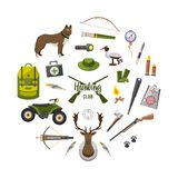 Camping trip equipment collection. accessories and base  Stock Photo