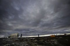 Camping in the tundra. Of kuujjuaq Stock Photo