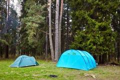 camping Twee Toeristententen in het bos stock foto's