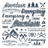 Camping typographic badges  for t-shirt Stock Image
