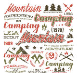 Camping typographic badges  for t-shirt Stock Photography
