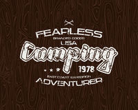 Camping typographic emblem with shabby texture Stock Photography