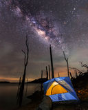 Camping  under the clear milky way Royalty Free Stock Image