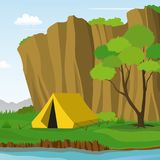 Camping Under the Cliff in Summer Day Vector Illustration. Summer Camping Under The Cliff with Tent in Riverside Landscape, Nature Adventure Royalty Free Stock Photo