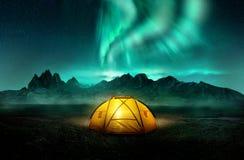 Camping Under Dancing Green Aurora Northern Lights