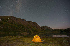 Camping under the Milky Way Royalty Free Stock Image
