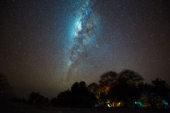 Camping under the milky way. The Milky Way over the camping site at Tarangire National Park, Tanzania. Long exposure and ISO3200 image Stock Photos