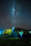 Camping under the milky way. Safari camping under the milky way, Tanzania Stock Images