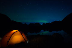 Camping under Northern Lights Stock Image