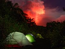 Camping under the red sky. Camping near the vulcanos of ambrym eruptions royalty free stock images