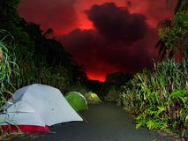 Camping under the red sky stock image