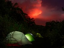 Camping under the red sky. Camping near the vulcanos of ambrym eruptions stock image