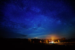 Camping under star sky Stock Images