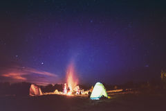 Camping under star sky Stock Photo