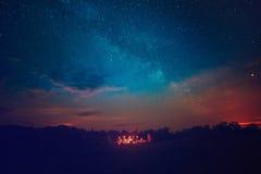 Camping under star sky Stock Photos