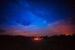 Camping under star sky Stock Image