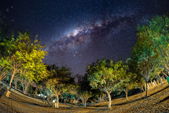 Camping under starry sky and Milky Way arc, with details of its colorful core, outstandingly bright, captured in Southern Africa. Royalty Free Stock Photo