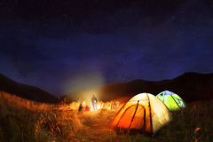 Camping under the stars at night Stock Images