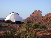 Camping in Valley of the Gods. Camping in the Valley of the Gods in Southern Utah stock photo