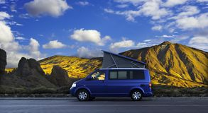 Camping van in the mountains. Sleeping on the sunset Stock Images