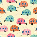 Camping van seamless pattern colorful trendy design vector illustration for kids and children fashion textile print. Trailer travel vintage retro vacation cute stock illustration