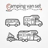 Camping van set Stock Photos