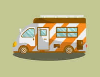 Camping van trailer or motorhome vector flat icon Stock Photo